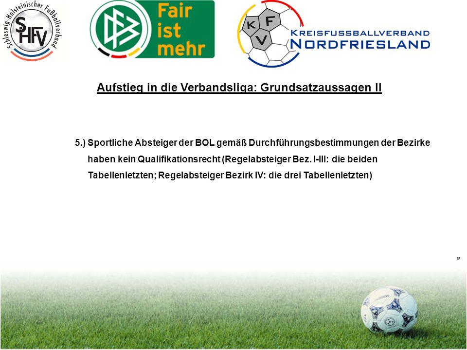 Seite 19 Aufstieg in die Verbandsliga: Grundsatzaussagen II 5.) Sportliche Absteiger der BOL gemäß Durchführungsbestimmungen der Bezirke haben kein Qualifikationsrecht (Regelabsteiger Bez.