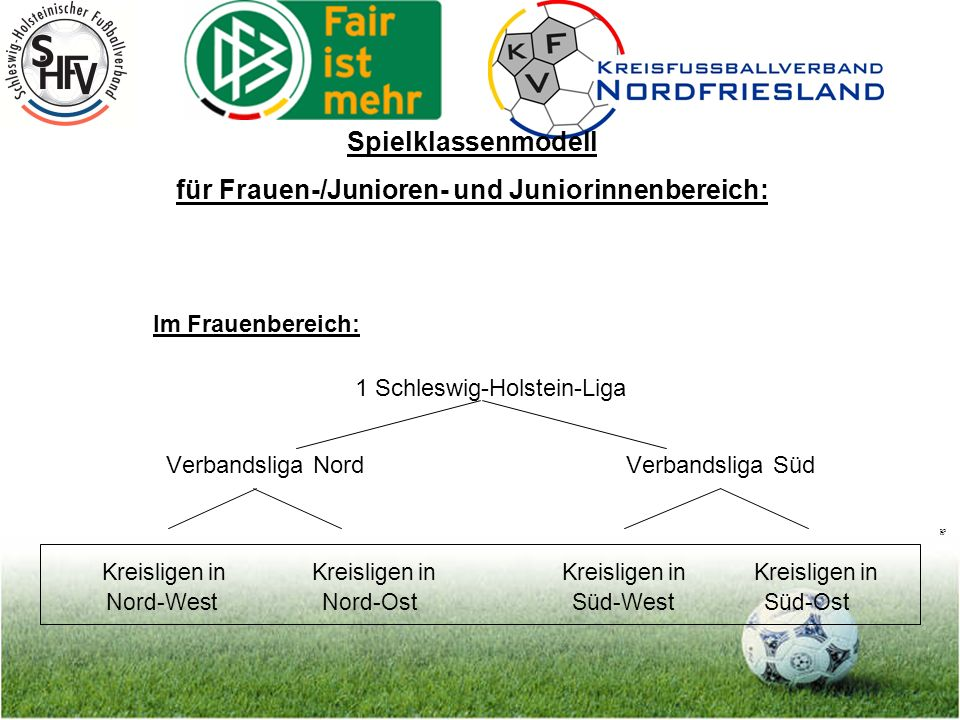 Seite 3 Im Frauenbereich: 1 Schleswig-Holstein-Liga Verbandsliga Nord Verbandsliga Süd Kreisligen in Kreisligen inKreisligen inKreisligen in Nord-West Nord-Ost Süd-West Süd-Ost Spielklassenmodell für Frauen-/Junioren- und Juniorinnenbereich: