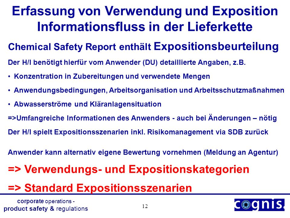 corporate operations - product safety & regulations 12 Erfassung von Verwendung und Exposition Informationsfluss in der Lieferkette Chemical Safety Re