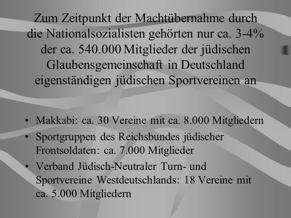 Zum Zeitpunkt der Machtübernahme durch die Nationalsozialisten gehörten nur ca. 3-4% der ca. 540.000 Mitglieder der jüdischen Glaubensgemeinschaft in