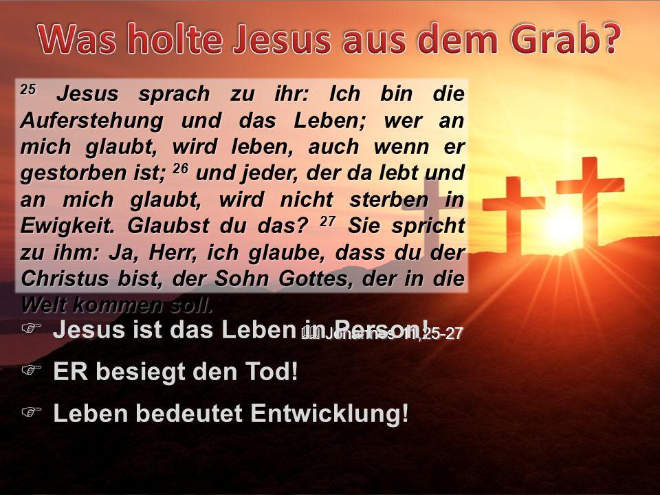 25 Jesus sprach zu ihr: Ich bin die Auferstehung und das Leben; wer an mich glaubt, wird leben, auch wenn er gestorben ist; 26 und jeder, der da lebt und an mich glaubt, wird nicht sterben in Ewigkeit.