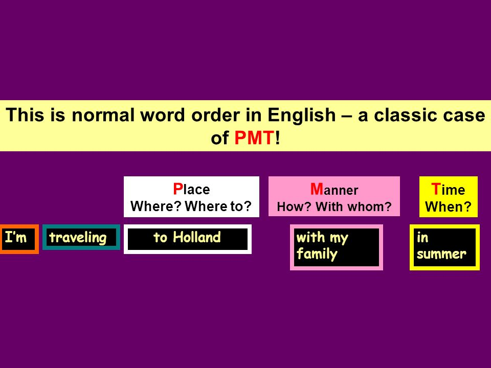 This is normal word order in English – a classic case of PMT! T ime When? P lace Where? Where to? Imtraveling in summer to Hollandwith my family M ann