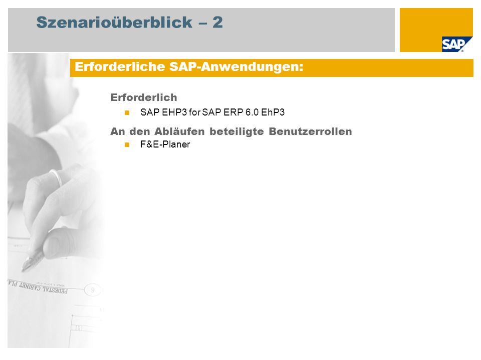 Szenarioüberblick – 2 Erforderlich SAP EHP3 for SAP ERP 6.0 EhP3 An den Abläufen beteiligte Benutzerrollen F&E-Planer Erforderliche SAP-Anwendungen: