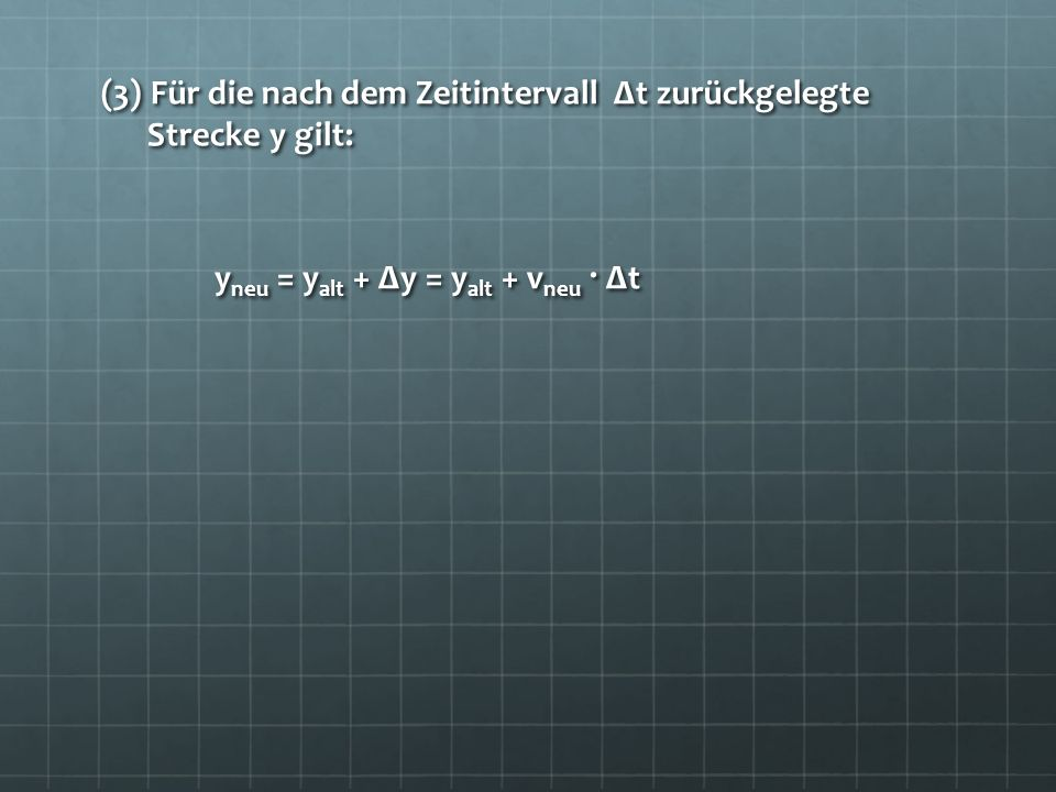(4) Insgesamt gilt daher beim Übergang zum nächsten Zeitintervall: t neu = t alt + Δt t neu = t alt + Δt a neu = a alt = – g = – 9,81m/s 2 a neu = a alt = – g = – 9,81m/s 2 (Hier steckt der spezielle Fall drin!!) v neu = v alt + a · Δtund y neu = y alt + v neu · Δt v neu = v alt + a · Δtund y neu = y alt + v neu · Δt Aus diesem Schema berechnet man die Position des fallenden Körpers am Ende jedes Zeitintervalls Δt
