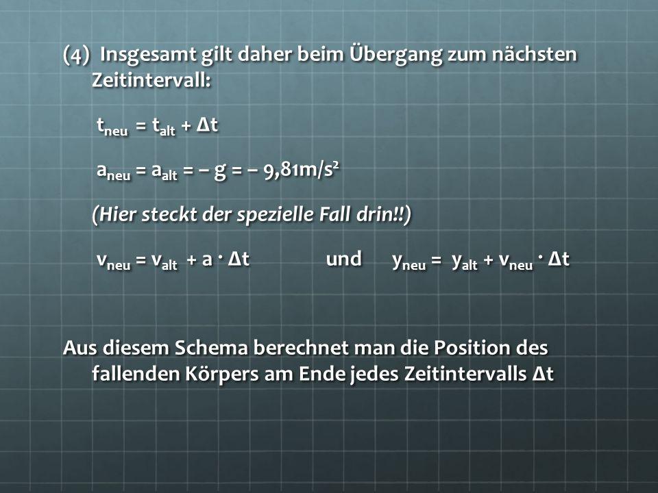 (4) Insgesamt gilt daher beim Übergang zum nächsten Zeitintervall: t neu = t alt + Δt t neu = t alt + Δt a neu = a alt = – g = – 9,81m/s 2 a neu = a a