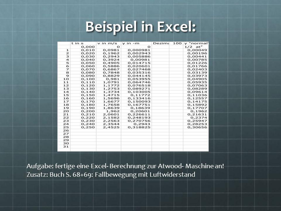 Beispiel in Excel: Aufgabe: fertige eine Excel- Berechnung zur Atwood- Maschine an! Zusatz: Buch S. 68+69: Fallbewegung mit Luftwiderstand