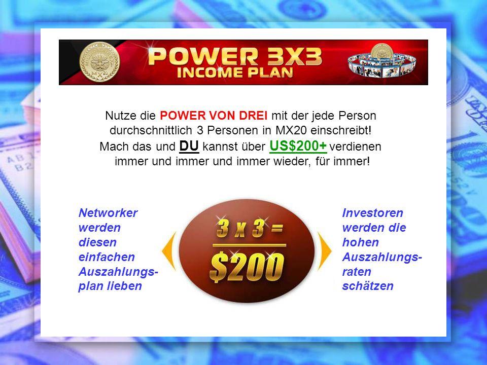 Nutze die POWER VON DREI mit der jede Person durchschnittlich 3 Personen in MX20 einschreibt! Mach das und DU kannst über US$200+ verdienen immer und