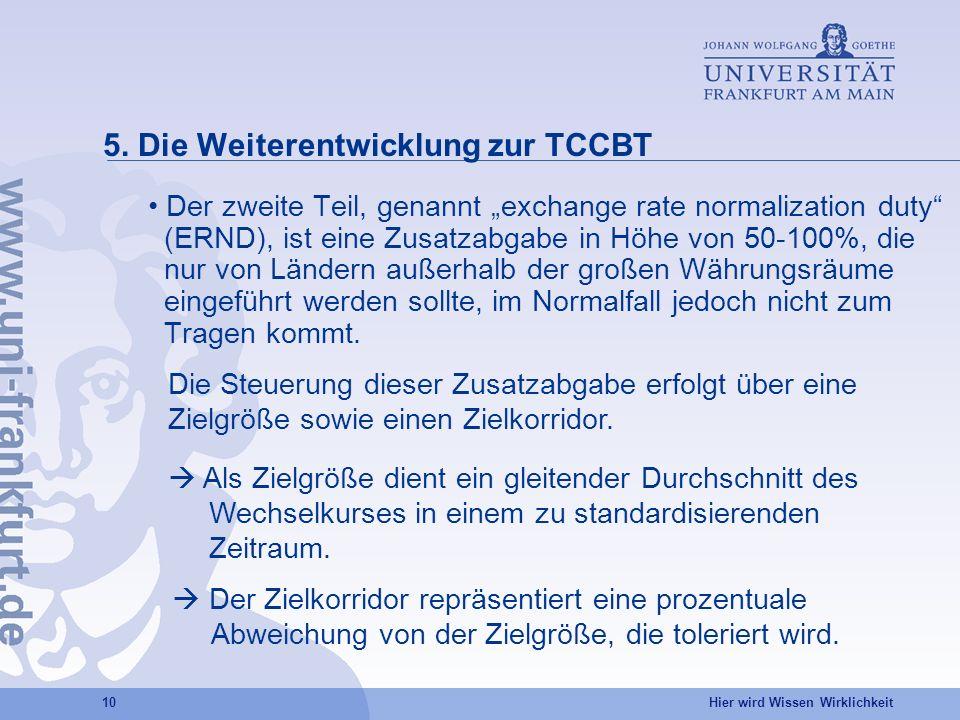 Hier wird Wissen Wirklichkeit 10 5. Die Weiterentwicklung zur TCCBT Der zweite Teil, genannt exchange rate normalization duty (ERND), ist eine Zusatza