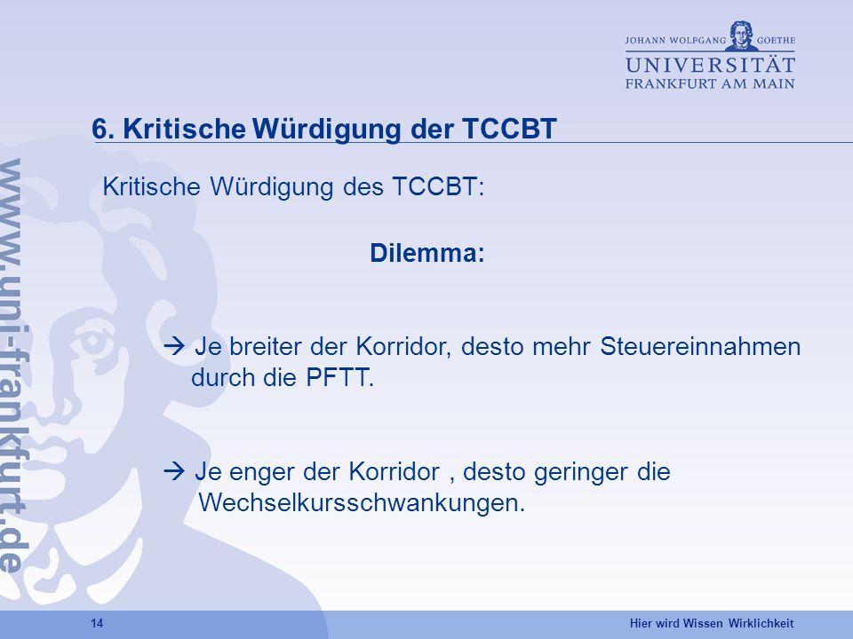Hier wird Wissen Wirklichkeit 14 6. Kritische Würdigung der TCCBT Kritische Würdigung des TCCBT: Dilemma: Je breiter der Korridor, desto mehr Steuerei