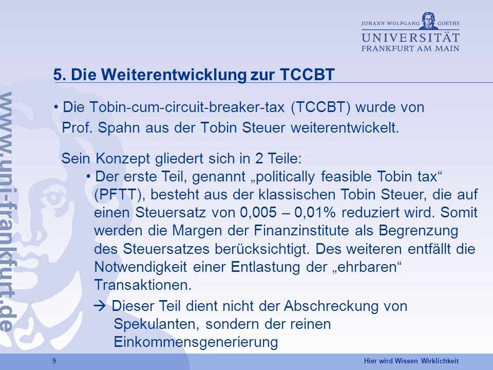 Hier wird Wissen Wirklichkeit 9 5. Die Weiterentwicklung zur TCCBT Die Tobin-cum-circuit-breaker-tax (TCCBT) wurde von Prof. Spahn aus der Tobin Steue