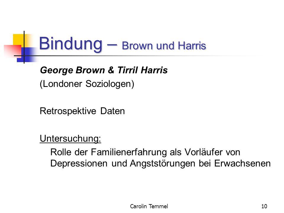 Carolin Temmel10 Bindung – Brown und Harris George Brown & Tirril Harris (Londoner Soziologen) Retrospektive Daten Untersuchung: Rolle der Familienerf
