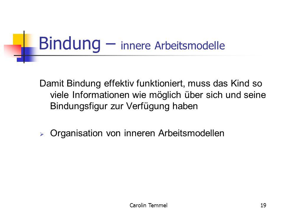 Carolin Temmel19 Bindung – innere Arbeitsmodelle Damit Bindung effektiv funktioniert, muss das Kind so viele Informationen wie möglich über sich und s