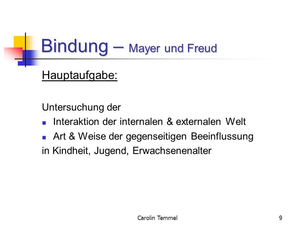 Carolin Temmel9 Bindung – Mayer und Freud Hauptaufgabe: Untersuchung der Interaktion der internalen & externalen Welt Art & Weise der gegenseitigen Be
