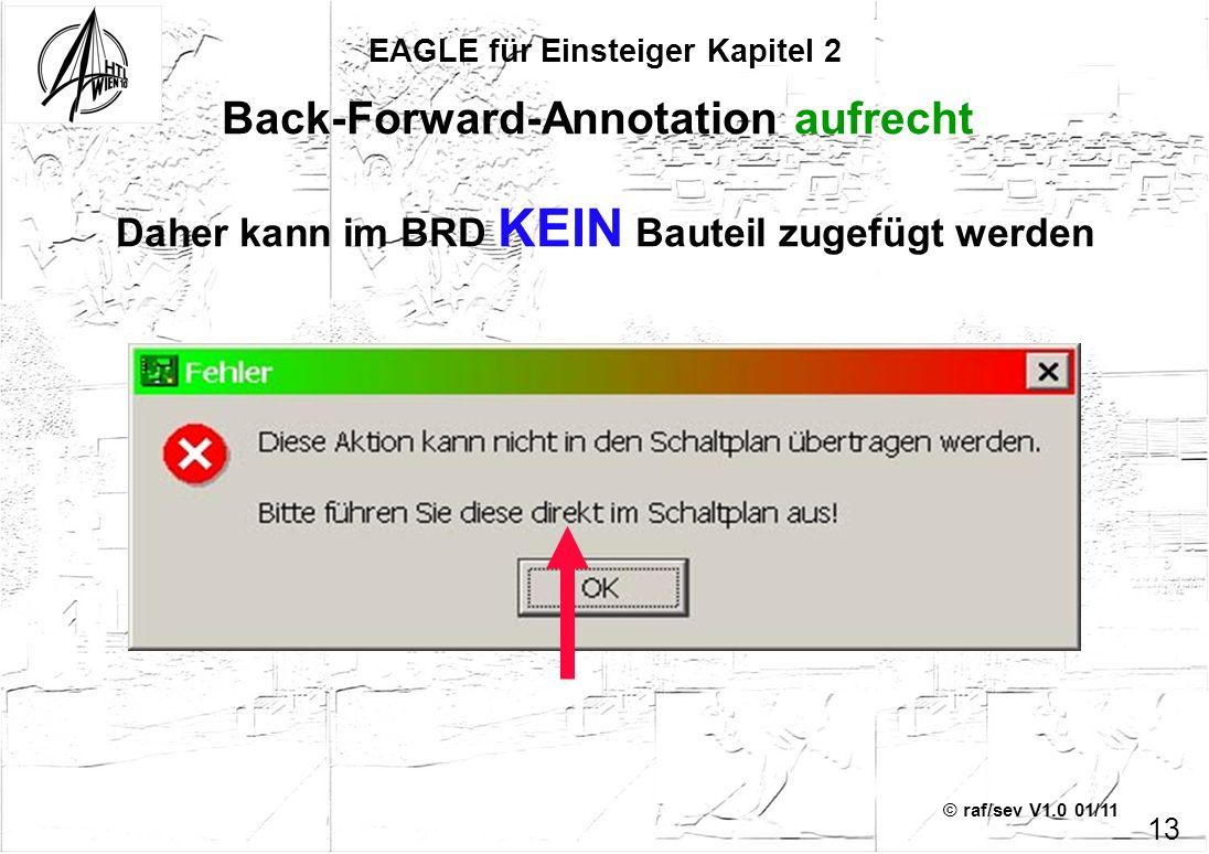 © raf/sev V1.0 01/11 Back-Forward-Annotation aufrecht EAGLE für Einsteiger Kapitel 2 13 Daher kann im BRD KEIN Bauteil zugefügt werden