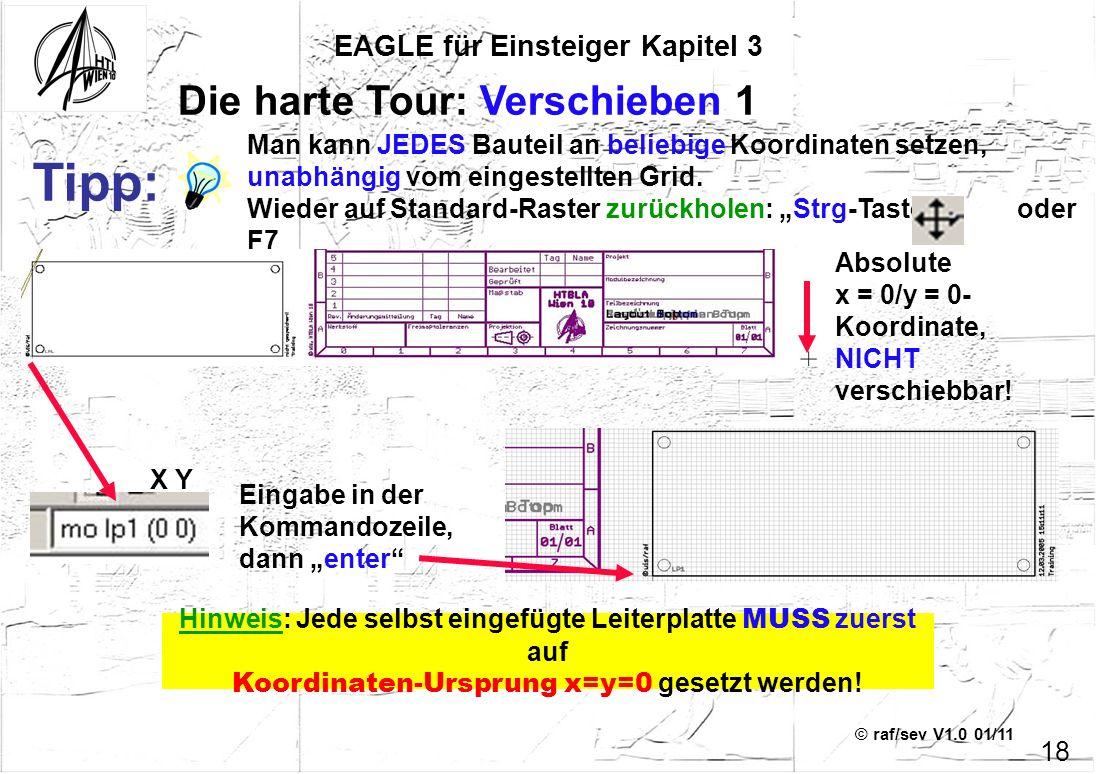 © raf/sev V1.0 01/11 EAGLE für Einsteiger Kapitel 3 18 Die harte Tour: Verschieben 1 Eingabe in der Kommandozeile, dann enter Tipp: Man kann JEDES Bau