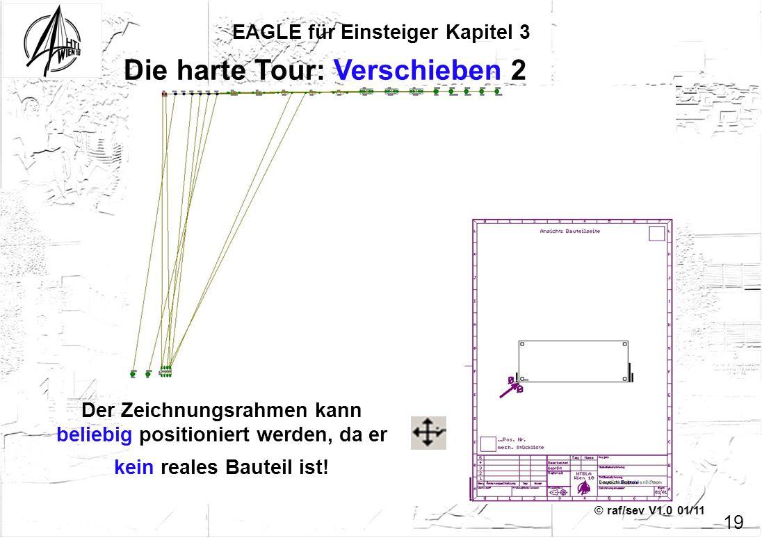 © raf/sev V1.0 01/11 EAGLE für Einsteiger Kapitel 3 19 Die harte Tour: Verschieben 2 Der Zeichnungsrahmen kann beliebig positioniert werden, da er kei
