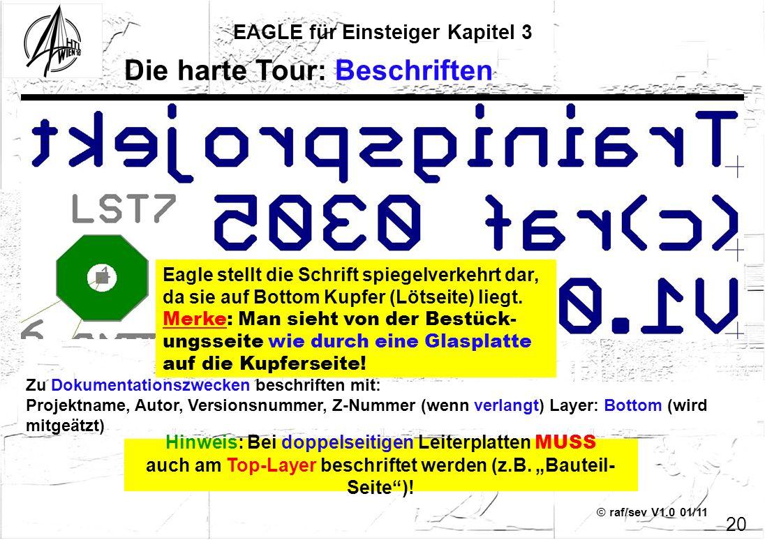 © raf/sev V1.0 01/11 EAGLE für Einsteiger Kapitel 3 20 Die harte Tour: Beschriften Zu Dokumentationszwecken beschriften mit: Projektname, Autor, Versi