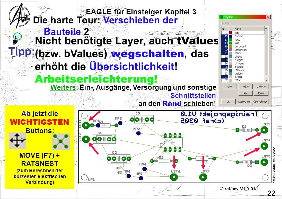 © raf/sev V1.0 01/11 Ab jetzt die WICHTIGSTEN Buttons: MOVE (F7) + RATSNEST (zum Berechnen der kürzesten elektrischen Verbindung) EAGLE für Einsteiger