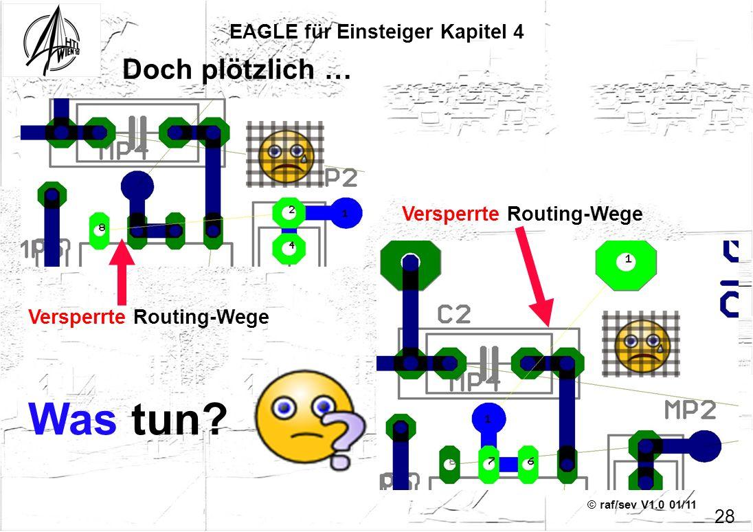 © raf/sev V1.0 01/11 EAGLE für Einsteiger Kapitel 4 28 Doch plötzlich … Versperrte Routing-Wege Was tun?