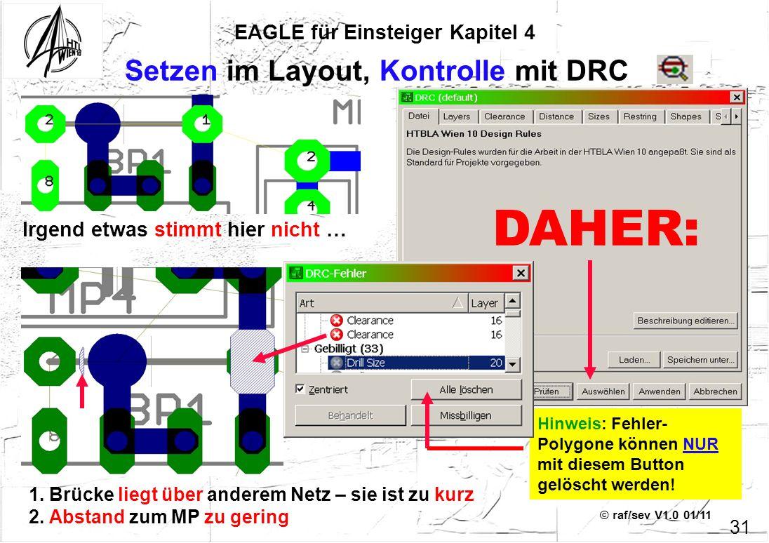 © raf/sev V1.0 01/11 EAGLE für Einsteiger Kapitel 4 31 Setzen im Layout, Kontrolle mit DRC Irgend etwas stimmt hier nicht … 1. Brücke liegt über ander