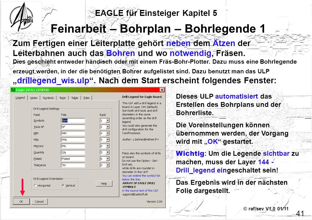 © raf/sev V1.0 01/11 EAGLE für Einsteiger Kapitel 5 41 Feinarbeit – Bohrplan – Bohrlegende 1 Zum Fertigen einer Leiterplatte gehört neben dem Ätzen de