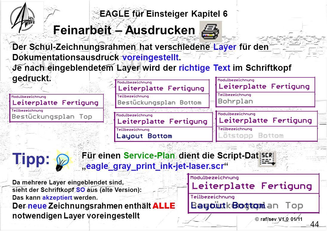 © raf/sev V1.0 01/11 EAGLE für Einsteiger Kapitel 6 44 Feinarbeit – Ausdrucken 1 Der Schul-Zeichnungsrahmen hat verschiedene Layer für den Dokumentati