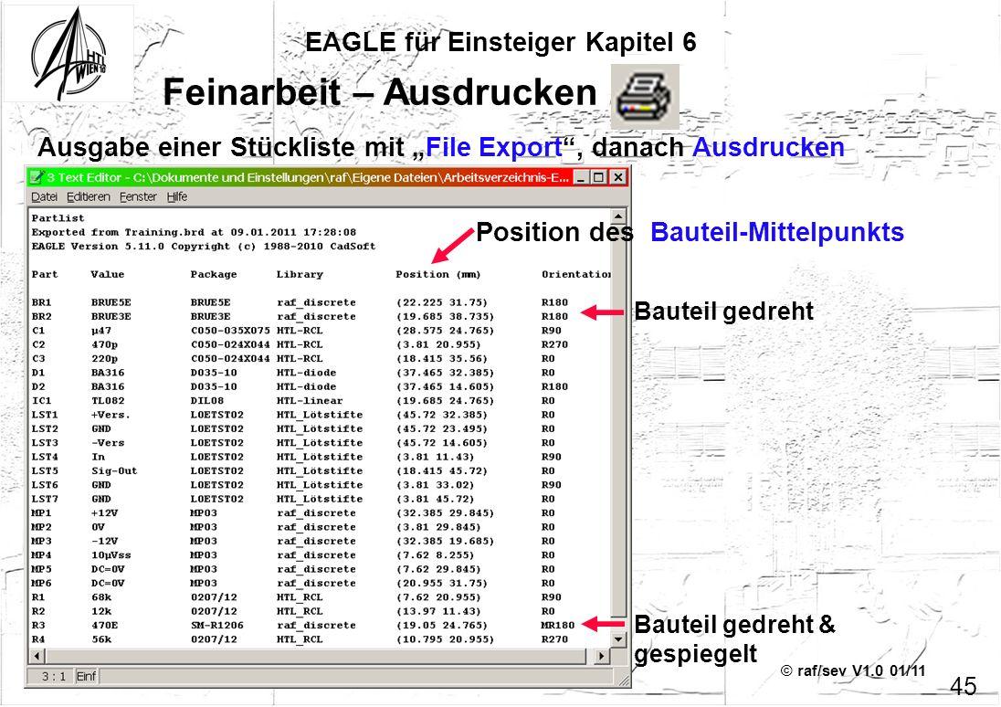 © raf/sev V1.0 01/11 EAGLE für Einsteiger Kapitel 6 45 Feinarbeit – Ausdrucken 2 Ausgabe einer Stückliste mit File Export, danach Ausdrucken Position