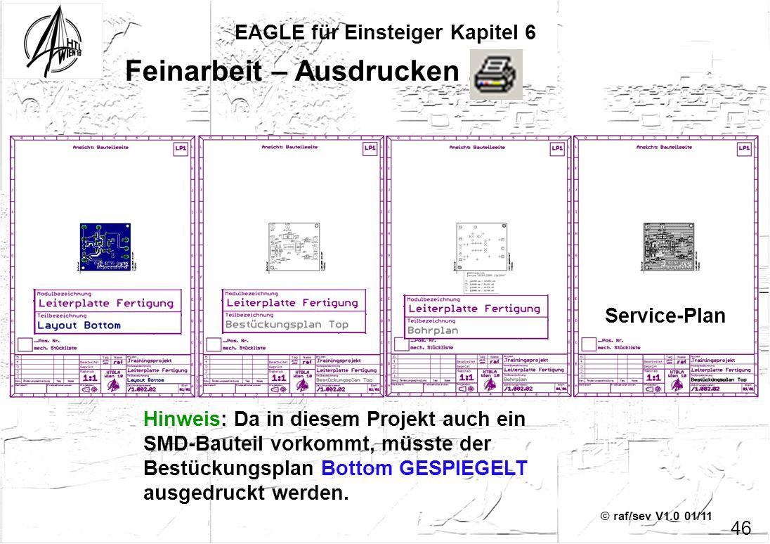 © raf/sev V1.0 01/11 EAGLE für Einsteiger Kapitel 6 46 Feinarbeit – Ausdrucken 3 Hinweis: Da in diesem Projekt auch ein SMD-Bauteil vorkommt, müsste d