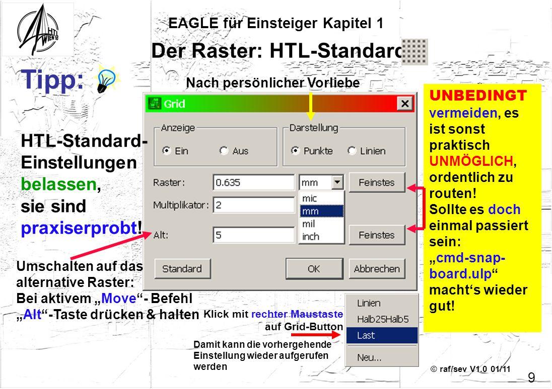 © raf/sev V1.0 01/11 UNBEDINGT vermeiden, es ist sonst praktisch UNMÖGLICH, ordentlich zu routen! Sollte es doch einmal passiert sein: cmd-snap- board
