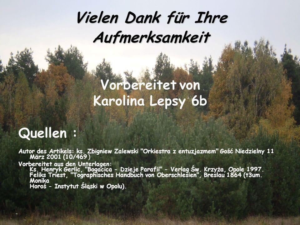 Vielen Dank für Ihre Aufmerksamkeit Vorbereitet von Karolina Lepsy 6b Quellen : Autor des Artikels: ks.