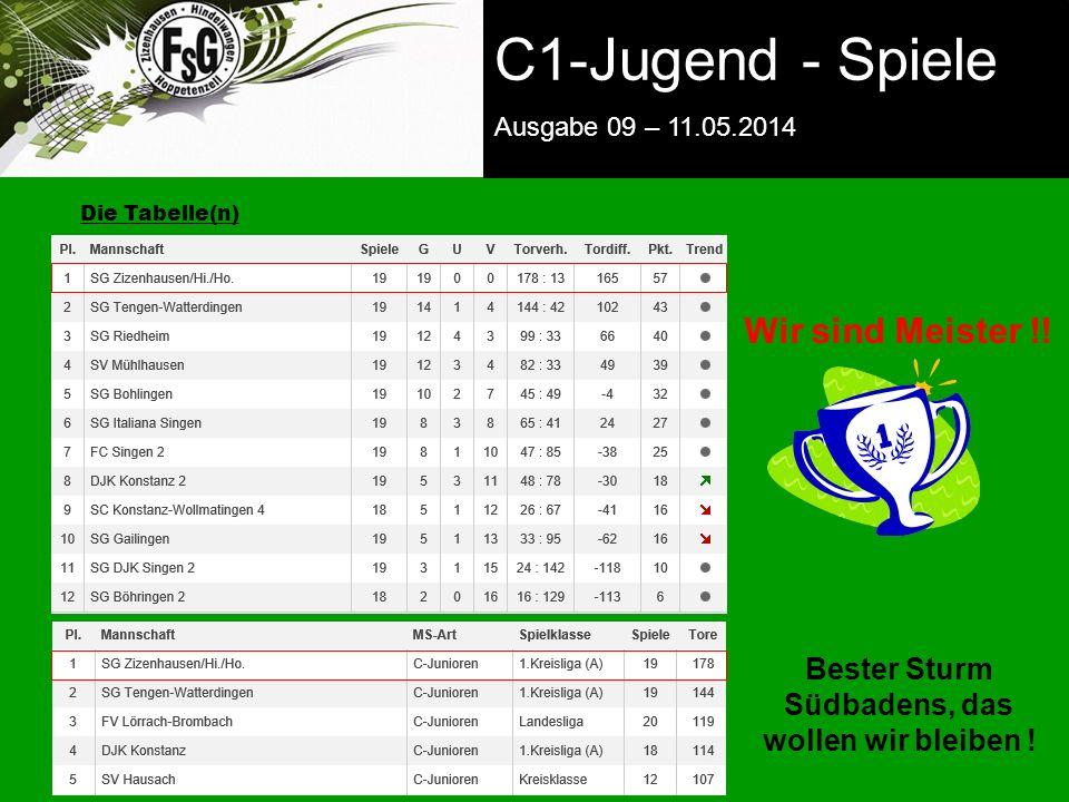 FSG E-Jugend - NEWS Ausgabe 4 – 28.11.2009 zurück zur Startseite Die Tabelle(n) C1-Jugend - Spiele Ausgabe 09 – 11.05.2014 Wir sind Meister !.