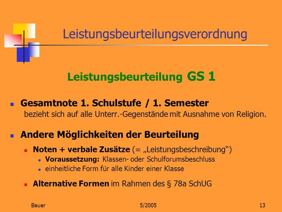 Bauer5/200513 Leistungsbeurteilung GS 1 Gesamtnote 1. Schulstufe / 1. Semester bezieht sich auf alle Unterr.-Gegenstände mit Ausnahme von Religion. An