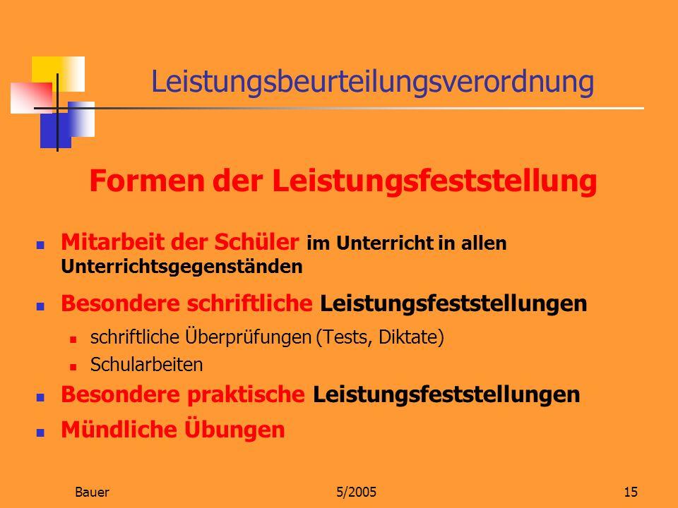 Bauer5/200515 Formen der Leistungsfeststellung Mitarbeit der Schüler im Unterricht in allen Unterrichtsgegenständen Besondere schriftliche Leistungsfe
