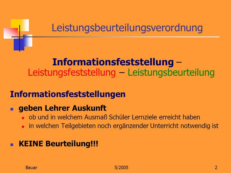 Bauer5/20052 Leistungsbeurteilungsverordnung Informationsfeststellung – Leistungsfeststellung – Leistungsbeurteilung Informationsfeststellungen geben