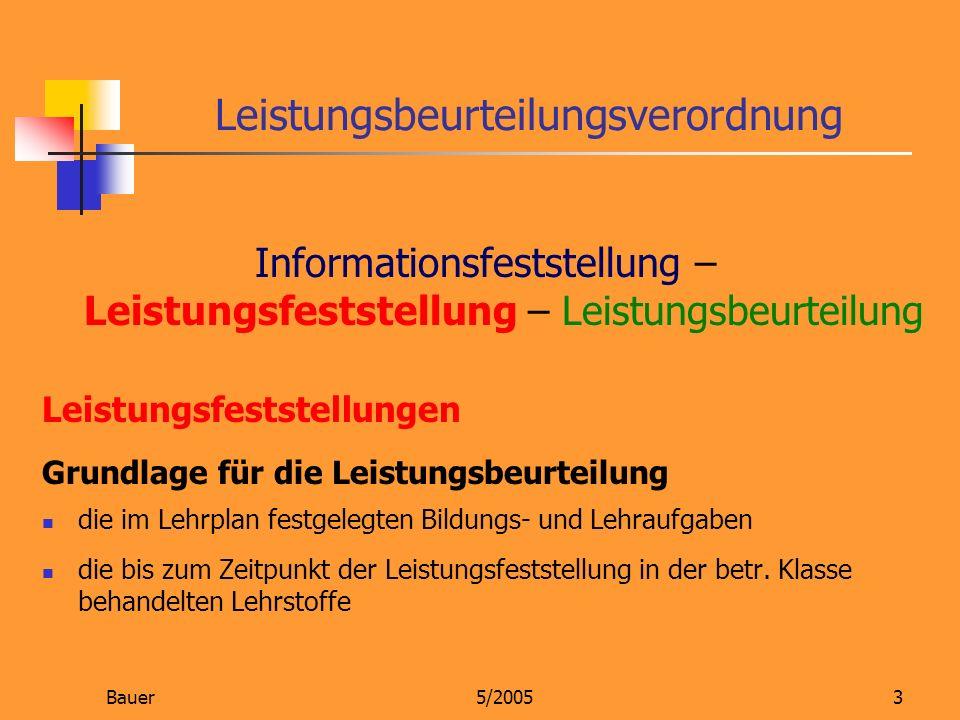 Bauer5/20053 Leistungsbeurteilungsverordnung Informationsfeststellung – Leistungsfeststellung – Leistungsbeurteilung Leistungsfeststellungen Grundlage