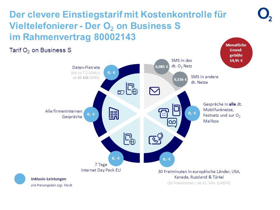 Der clevere Einstiegstarif mit Kostenkontrolle für Vieltelefonierer - Der O 2 on Business S im Rahmenvertrag 80002143 Inklusiv-Leistungen alle Preisan