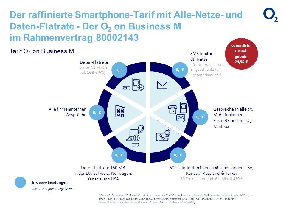 Der raffinierte Smartphone-Tarif mit Alle-Netze- und Daten-Flatrate - Der O 2 on Business M im Rahmenvertrag 80002143 Inklusiv-Leistungen alle Preisan