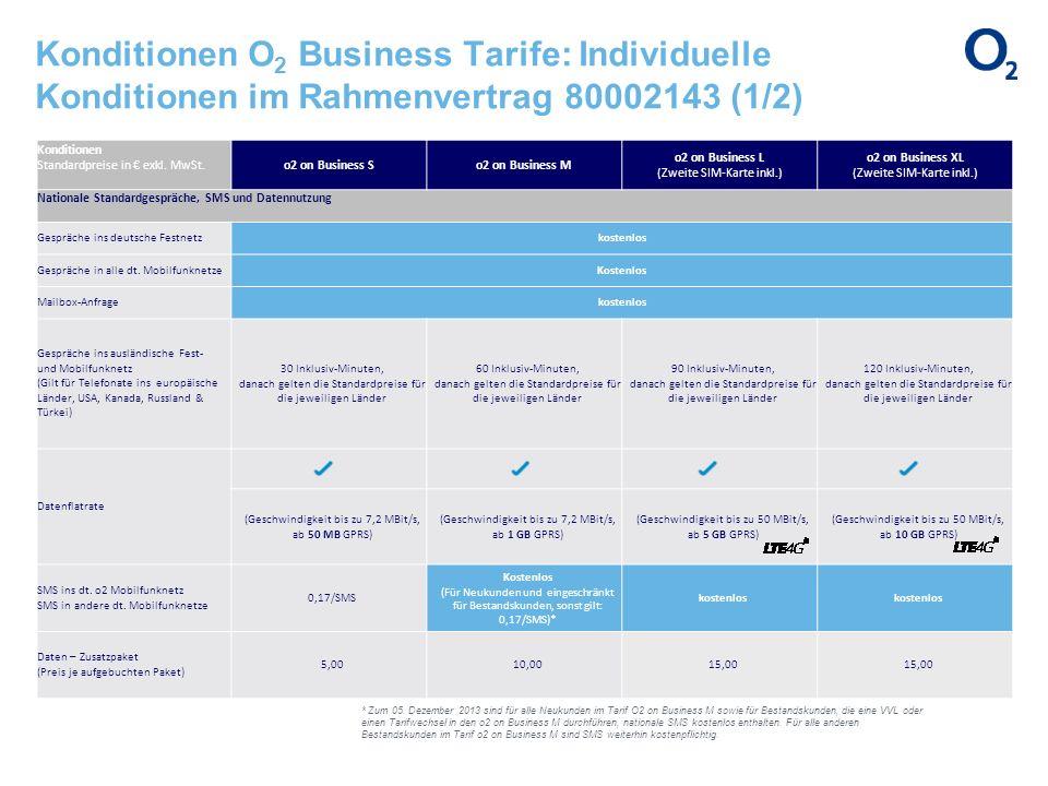 Konditionen O 2 Business Tarife: Individuelle Konditionen im Rahmenvertrag 80002143 (1/2) Konditionen Standardpreise in exkl. MwSt.o2 on Business So2
