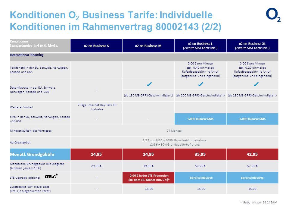 Konditionen O 2 Business Tarife: Individuelle Konditionen im Rahmenvertrag 80002143 (2/2) Konditionen Standardpreise in exkl. MwSt. o2 on Business So2