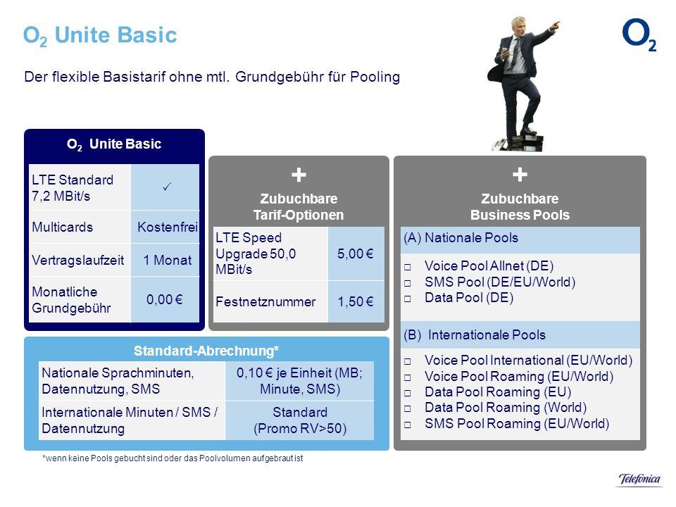 Standard-Abrechnung* + Zubuchbare Business Pools + Zubuchbare Tarif-Optionen O 2 Unite Basic Der flexible Basistarif ohne mtl. Grundgebühr für Pooling