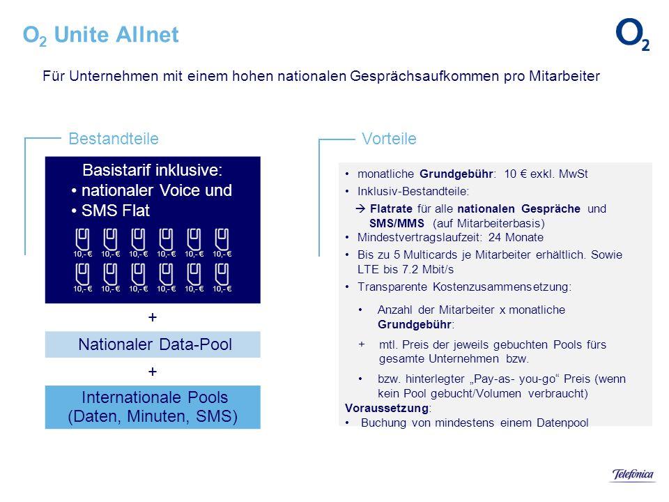 BestandteileVorteile monatliche Grundgebühr: 10 exkl. MwSt Inklusiv-Bestandteile: Flatrate für alle nationalen Gespräche und SMS/MMS (auf Mitarbeiterb