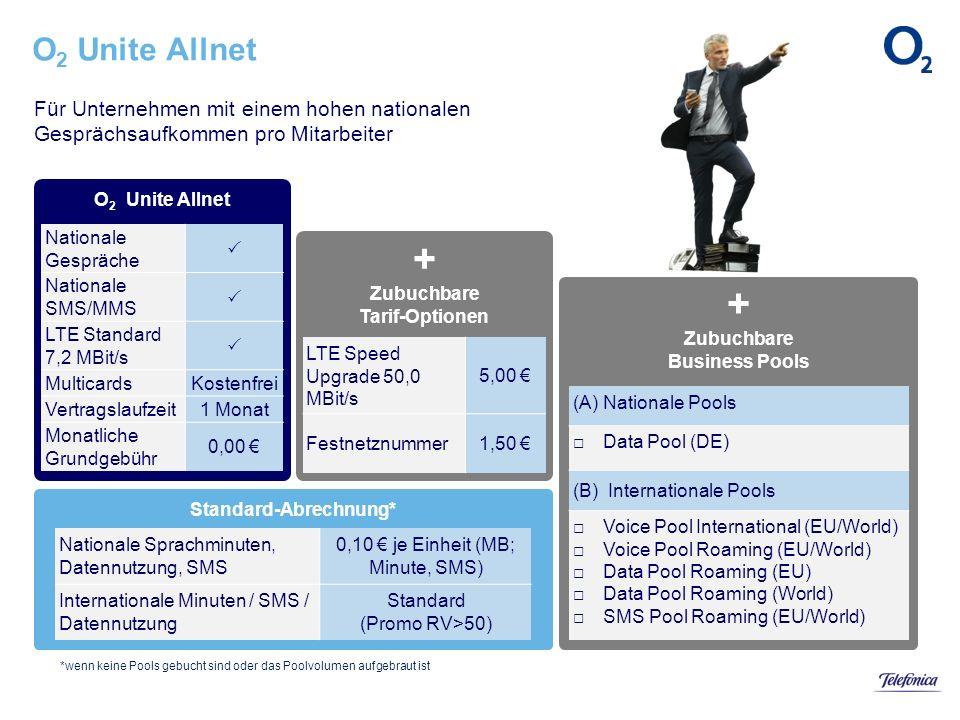 Standard-Abrechnung* + Zubuchbare Business Pools + Zubuchbare Tarif-Optionen O 2 Unite Allnet Für Unternehmen mit einem hohen nationalen Gesprächsaufk