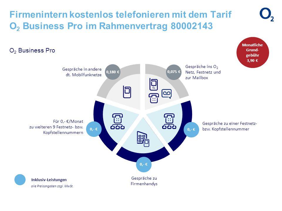 Firmenintern kostenlos telefonieren mit dem Tarif O 2 Business Pro im Rahmenvertrag 80002143 O 2 Business Pro Inklusiv-Leistungen alle Preisangaben zz