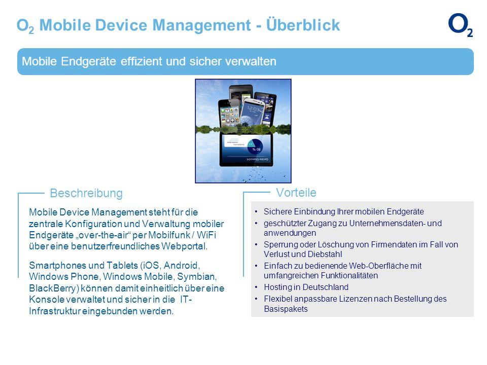 Mobile Endgeräte effizient und sicher verwalten Beschreibung Vorteile O 2 Mobile Device Management - Überblick Mobile Device Management steht für die