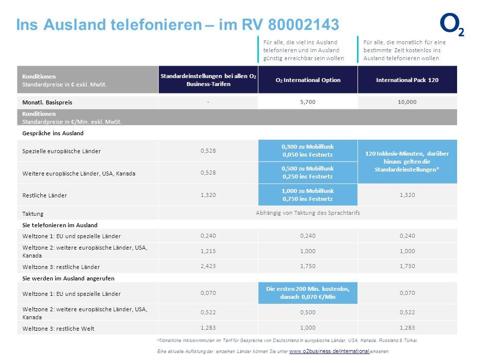 Ins Ausland telefonieren – im RV 80002143 *Monatliche Inklusivminuten im Tarif für Gespräche von Deutschland in europäische Länder, USA, Kanada, Russl