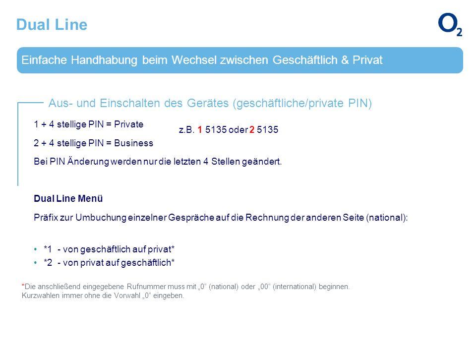 Einfache Handhabung beim Wechsel zwischen Geschäftlich & Privat Aus- und Einschalten des Gerätes (geschäftliche/private PIN) Dual Line 1 + 4 stellige
