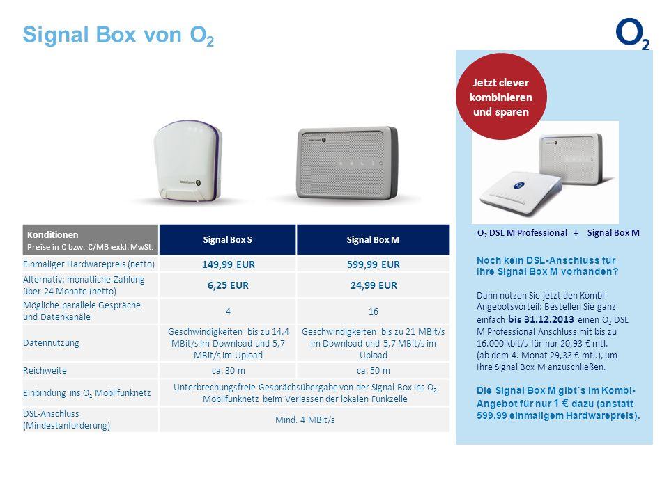 Konditionen Preise in bzw. /MB exkl. MwSt. Signal Box SSignal Box M Einmaliger Hardwarepreis (netto) 149,99 EUR599,99 EUR Alternativ: monatliche Zahlu