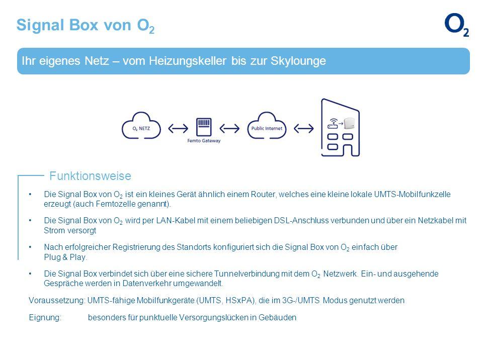 Ihr eigenes Netz – vom Heizungskeller bis zur Skylounge Funktionsweise Signal Box von O 2 Die Signal Box von O 2 ist ein kleines Gerät ähnlich einem R