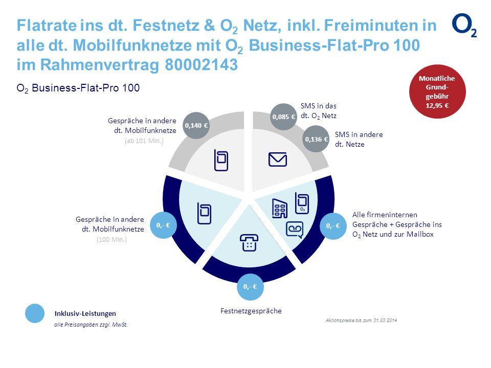 Flatrate ins dt. Festnetz & O 2 Netz, inkl. Freiminuten in alle dt. Mobilfunknetze mit O 2 Business-Flat-Pro 100 im Rahmenvertrag 80002143 O 2 Busines