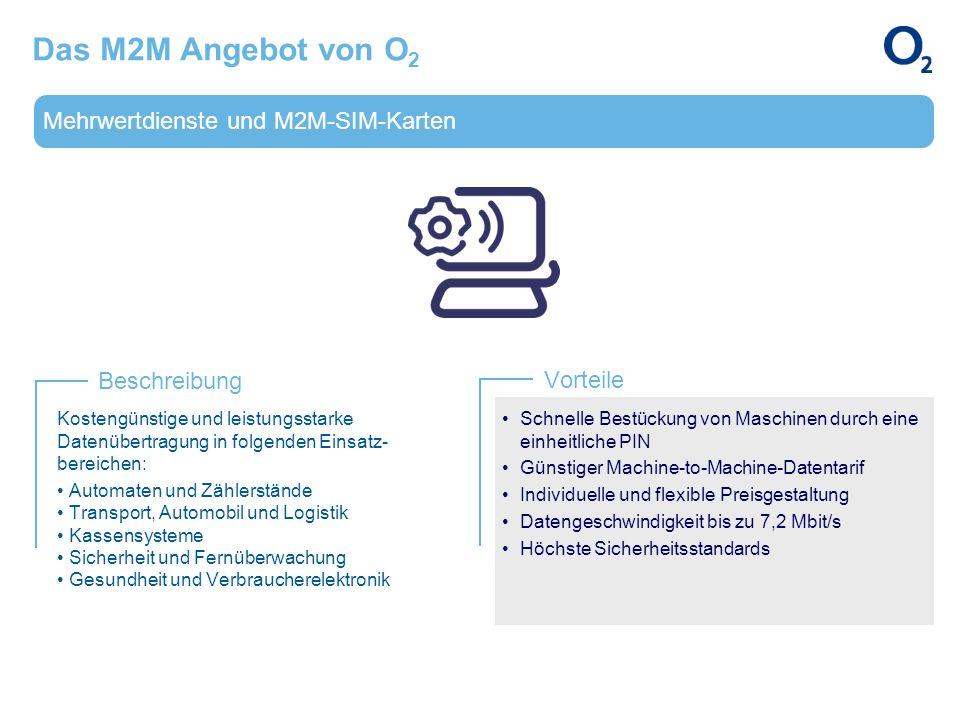 Mehrwertdienste und M2M-SIM-Karten Beschreibung Vorteile Das M2M Angebot von O 2 Kostengünstige und leistungsstarke Datenübertragung in folgenden Eins